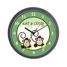 Silly Monkeys Wall Clock - Kat & Cody