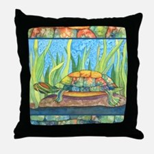 Tie Dye Turtle Watercolor Throw Pillow