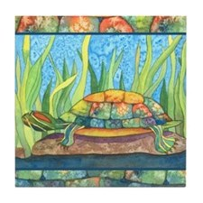 Tie Dye Turtle Watercolor Tile Coaster