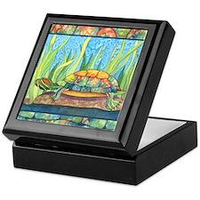 Tie Dye Turtle Watercolor Keepsake Box