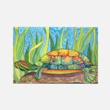 Tie Dye Turtle Watercolor Rectangle Magnet