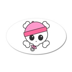 Baby Girl Skully 22x14 Oval Wall Peel