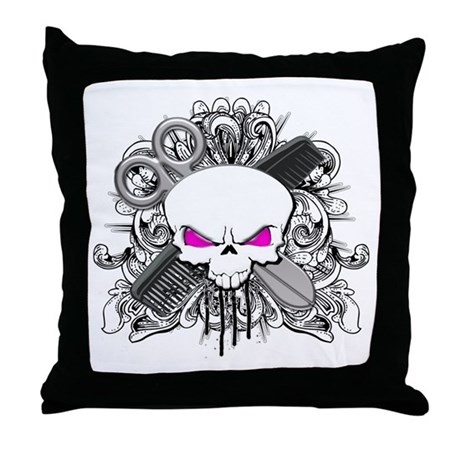Hairdresser Pirate Skull Throw Pillow