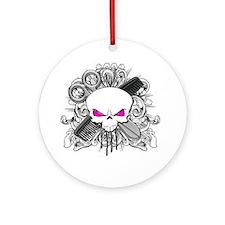 Hairdresser Pirate Skull Ornament (Round)