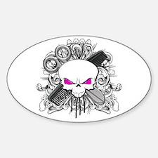 Hairdresser Pirate Skull Sticker (Oval)