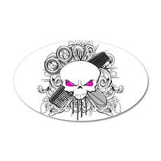 Hairdresser Pirate Skull 22x14 Oval Wall Peel