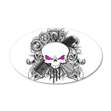 Hairdresser Pirate Skull 22x14 Oval Wall Peel
