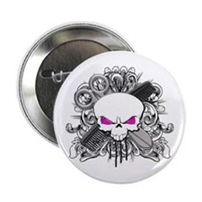 "Hairdresser Pirate Skull 2.25"" Button"