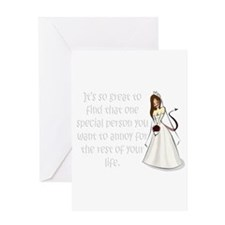 Brown eyed, brunette bride Greeting Card