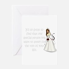 Brown eyed, brunette bride Greeting Card