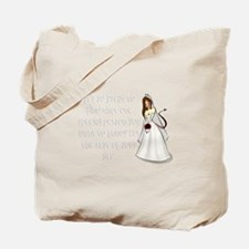 Brown eyed, brunette bride Tote Bag