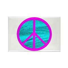 Peace Symbol Pink Rectangle Magnet (100 pack)
