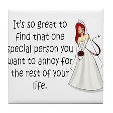 Green eyed, redhead bride Tile Coaster