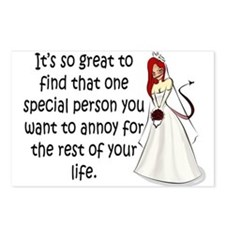 Red eyed, redhead bride Postcards (Package of 8)