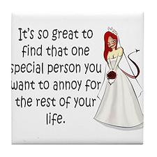 Red eyed, redhead bride Tile Coaster