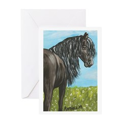 FRIESIAN HORSE PAINTING Greeting Card