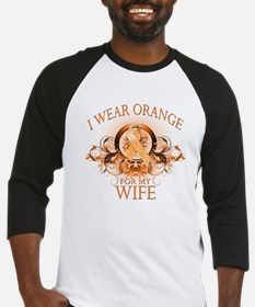 I Wear Orange for my Wife (floral) Baseball Jersey