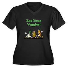 Eat Your Veggies! Women's Plus Size V-Neck Dark T-