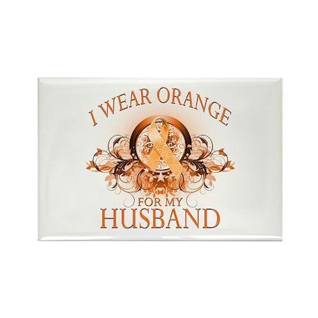 I Wear Orange for my Husband (floral) Rectangle Ma