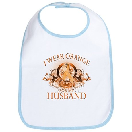 I Wear Orange for my Husband (floral) Bib