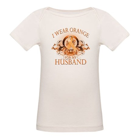 I Wear Orange for my Husband (floral) Organic Baby