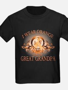 I Wear Orange for my Great Grandpa (floral) T