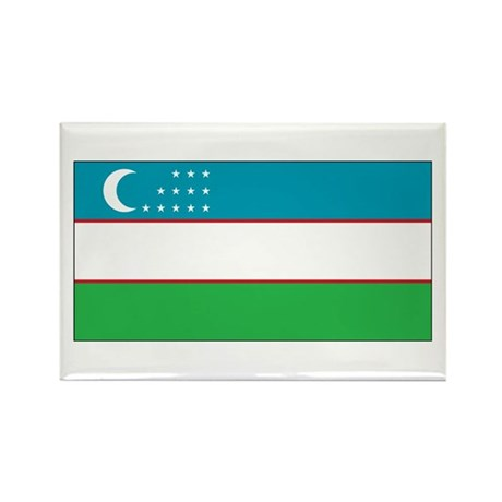 Uzbekistan Flag Rectangle Magnet (10 pack)
