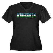 Uzbekistan Women's Plus Size V-Neck Dark T-Shirt