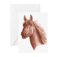 SEPIA INK HORSE HEAD Greeting Cards (Pk of 20)
