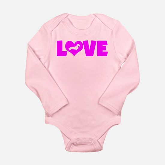 LOVE DACHSHUND (WIREHAIRED) Long Sleeve Infant Bod