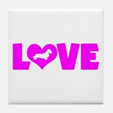 LOVE DACHSHUND (WIREHAIRED) Tile Coaster