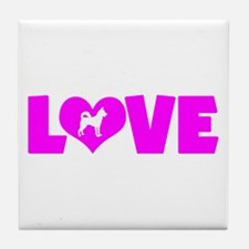 LOVE CANAAN DOG Tile Coaster