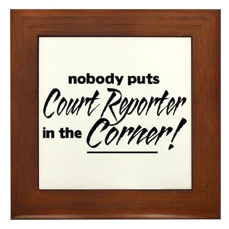 Court Reporter Nobody Corner Framed Tile