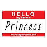 Hello my name is.. Princess Sticker