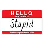 Hello my name is.. Stupid Sticker