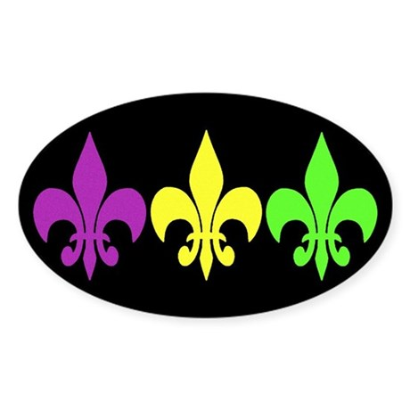 3 Fleur De Lis Sticker Oval By Brattigrl