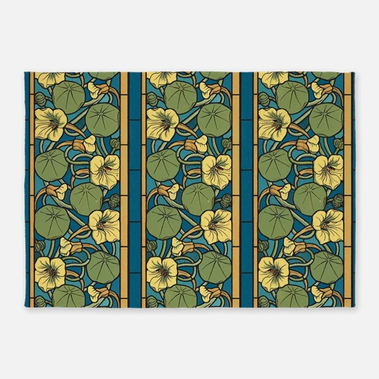 Blue and Yellow Floral Nouveau 5'x7'Area Rug