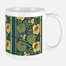 Blue and Yellow Floral Nouveau Mugs