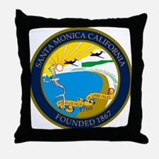 Santa Monica City Skeleton Throw Pillow