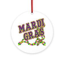 Mardi Gras in Purple and Green Ornament (Round)