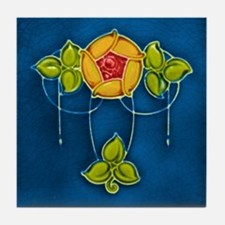 Art Nouveau Tile Coaster with Primary Colors