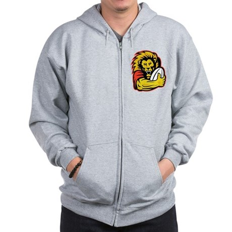 Lion playing rugby Zip Hoodie