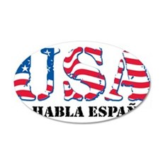 USA No Habla Espanol 22x14 Oval Wall Peel