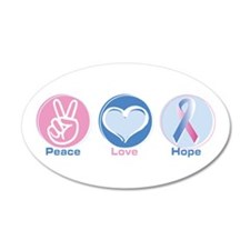 Peace Love Bl Pk Hope 22x14 Oval Wall Peel