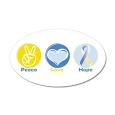Peace Love BlueYellow Hope 22x14 Oval Wall Peel
