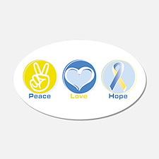 Peace Love BlueYellow Hope 22x14 Oval Wall Peel