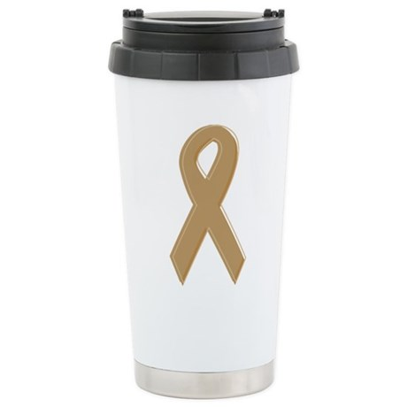 Gold Awareness Ribbon Stainless Steel Travel Mug