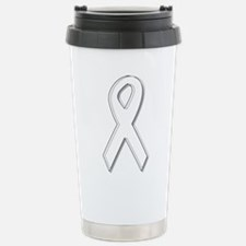 White Awareness Ribbon Stainless Steel Travel Mug