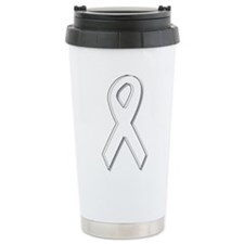 White Awareness Ribbon Travel Coffee Mug