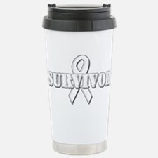 White Ribbon Survivor Stainless Steel Travel Mug
